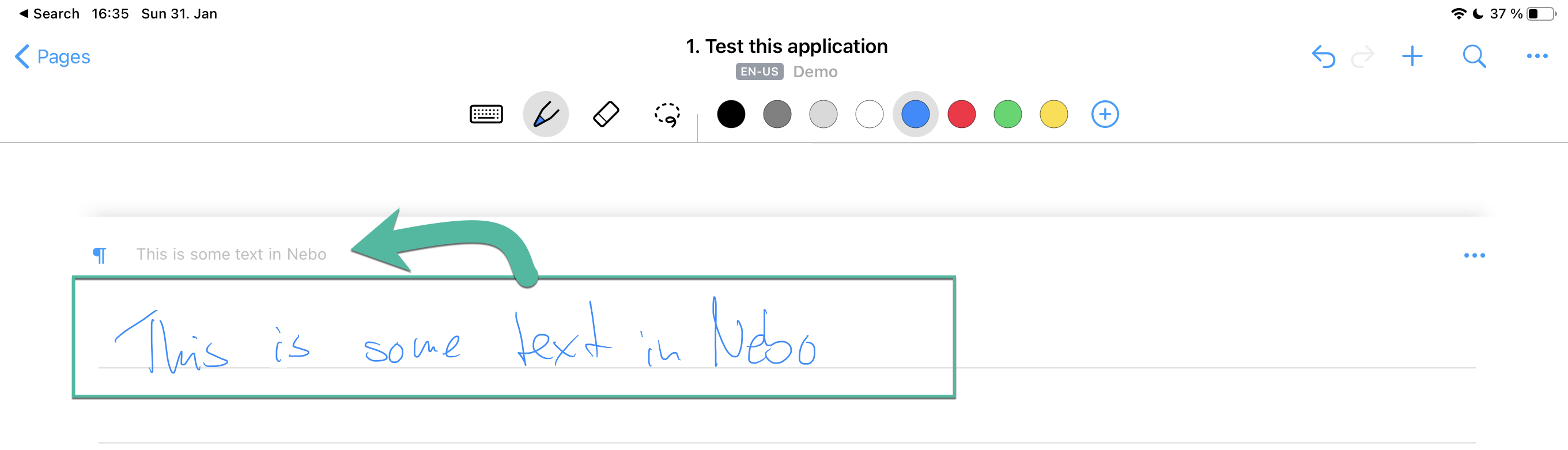 Nebo Review - Realtime Text Conversion